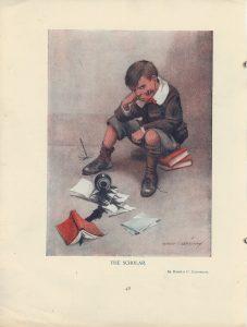 Vintage Rare Print, The Scholar, 1909
