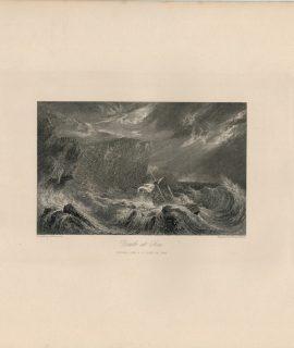 Antique Engraving Print, Death at Sea, 1845