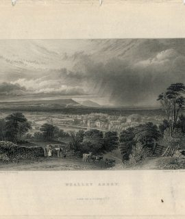Antique Engraving Print, Whalley Abbey, 1836