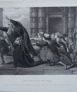 Antique Engraving Print, Shylock After the Trial, 1873