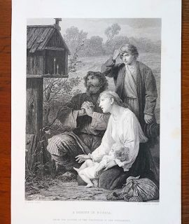 Antique Engraving Print, A Shrine in Russia, 1873
