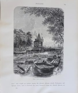 Antique Print, Weeper's Tower, Amsterdam, 1870