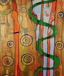 Adam and Eve, mixed media on canvas by Mary Blindflowers©