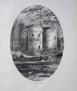 Antique Print, Port de Gand; In the Moat, Bruges, 1870