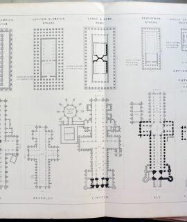 Rare antique print, A comparison between ancient temples and cathedrals, 1870 ca.