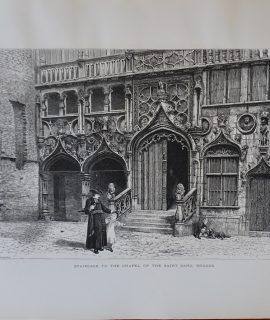Vintage Print, Staircase to the Chapel of the Saint Sang, Bruges, 1870