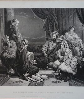 Antique Engraving Print, The Scribes Reading the Chronicle to Ahasuerus, 1867