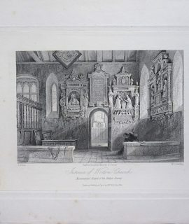 Antique Engraving Print, Interior of Wotton Church, 1845