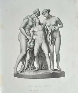 Antique Engraving Print, Hylas and the Nymphs, 1859