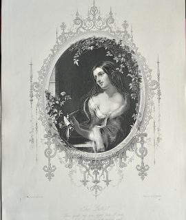 Antique Engraving Print, The Lute, 1873