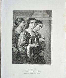 Antique Engraving Print, Sebastian del Piombo