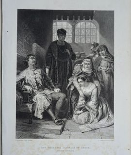 Antique Engraving Print, The Countess Isabelle of Croye, 1866