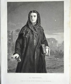 Antique Engraving Print, Il Penseroso, 1873