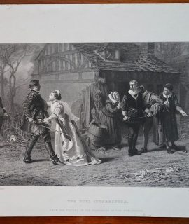 Antique Engraving Print, The Duel Interrupted, 1853
