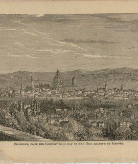 Antique Print, Florence, Evesham, Exmouth, Exeter, 1870