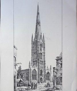 Antique Print, Grantham, 1870