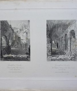 Antique Engraving Print, Guildford Castle, 1843
