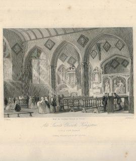 Antique Engraving Print, All Saint's Church, Kingston, 1840