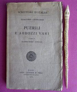 G. Leopardi, Puerili e abbozzi vari, Laterza & Figli, 1924