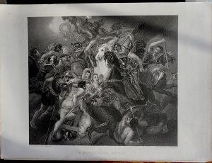 Antique Engraving Print, A Mythological Battle, 1846
