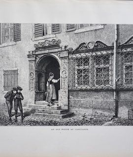 Antique Print, An Old House at Constance, 1870
