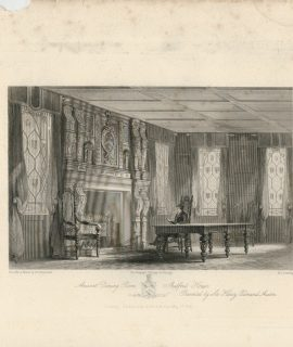 Antique Engraving Print, Ancient Dining Room Shalfort House, 1841