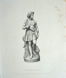 Antique Engraving Print, The Shepherd-Boy, 1873