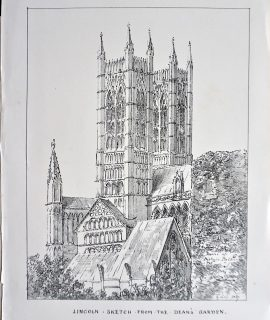 Antique Print, Lincoln, Sketch from the Dean's Garden, 1873
