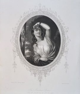 Antique Engraving Print, The Irish Girl, 1846