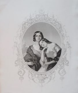 Antique Engraving Print, The Rival Sisters, 1846