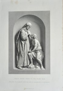 Antique Engraving Print, Christ Giving Sight to the Blind Man, 1873