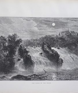 Antique Print, The Falls of the Rhine, 1870