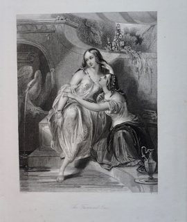 Antique Engraving Print, The Favoured One, 1830