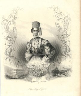 Antique Engraving Print, Otho King of Greece, 1845