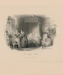 Antique Engraving Print, The Dying Mother, 1845