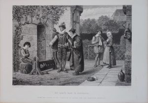 Antique Engraving Print, My Lady's Page in Disgrace, 1845