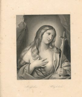 Rare Antique Engraving Print, Magdalena, 1845