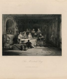 Rare Antique Engraving Print, The Minstrel's Song, 1840