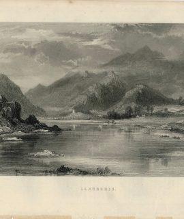 Antique Engraving Print, Llamberis, 1847