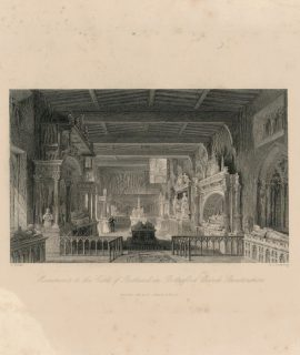 Antique Engraving Print, Monuments to the Earls of Butland in Bottesford Church, Leichester, 1840