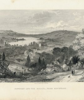 Antique Engraving Print, Newport and the Medina, from Mountjoy, 1848