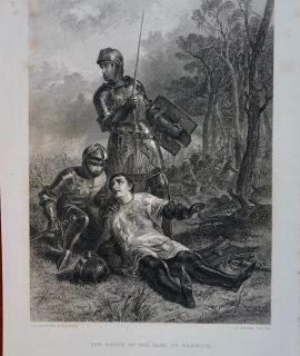 Rare Antique Engraving Print, The Death of the Earl of Warwick, 1873