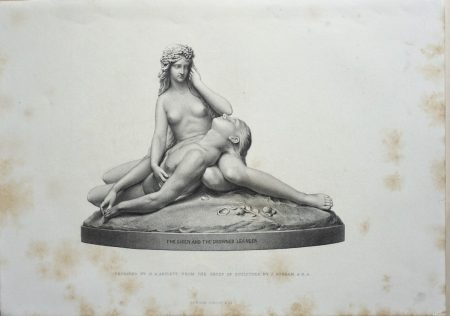 Antique Engraving Print, The Siren and the Drowned Leander, 1873