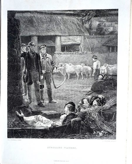 Antique Engraving Print, Strolling Players, 1873