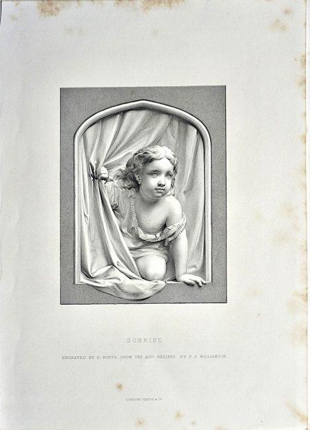 Antique Engraving Print, Sunrise, 1873
