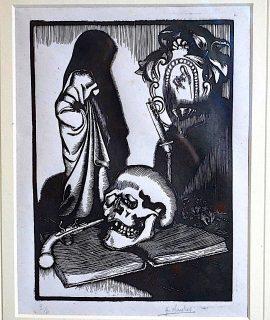 Original Woodcut by H. Santus 3/4