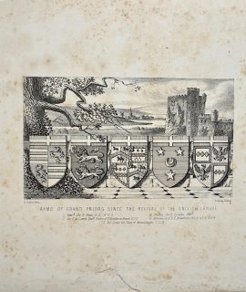 Antique Print, Arms of Grand Priors, 1830