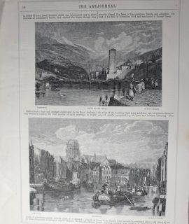 Antique Print, Tyrol; Rotterdam; The benevolent cottagers, 1856