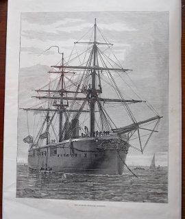 Antique Print, The Turkish Ironclad Hamidieh, 1871