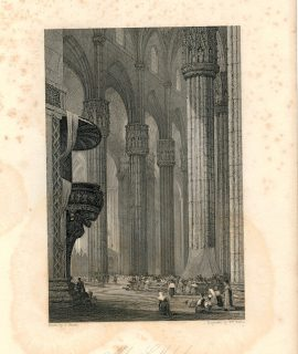Antique Engraving Print, Milan Cathedral, 1837